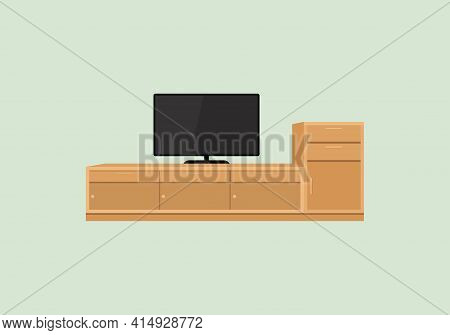 Television Table. Tv Table Icon Isolated On Green Background From Furniture Collection. Tv Table Ico
