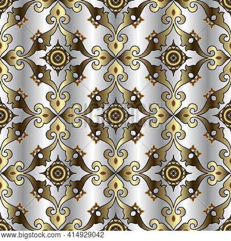 Gold Floral Vintage Seamless Pattern. Silver Ornamental Arabesque Background. Repeat Luxury Backdrop