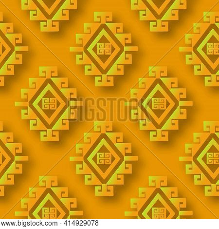 Greek Tribal Ethnic Style 3d Seamless Pattern. Ornamental Vector Background. Repeat Abstract Geometr