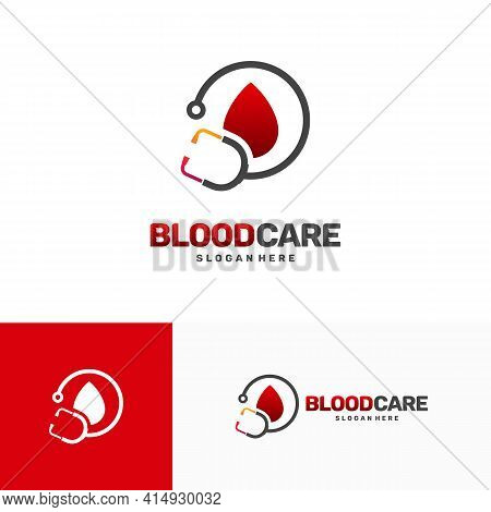 Blood Care Logo Designs Concept Vector, Blood And Stethoscope Health Logo Template, Icon, Symbol