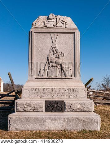 Gettysburg, Pennsylvania, Usa March 14, 2021 The 150th Pennsylvania Infantry Regiment Monument On St