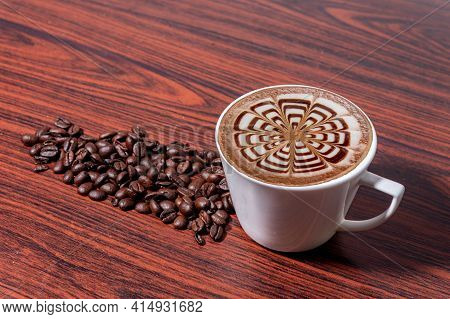 Coffee Beans In A Mug, Cup Of Coffee Full Of Coffee Beans, Coffee Cup With Roasted Beans On Stone Ba