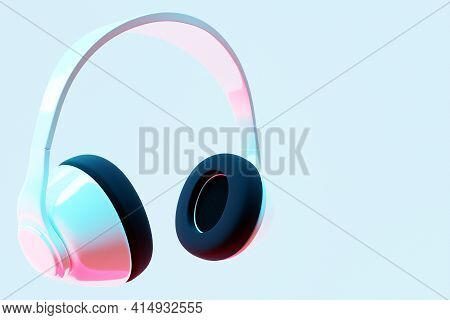 3d Illustration Realistic  White Wireless Headphones Isolated On White  Background Under Pink And Bl