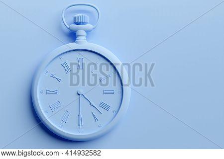 3d Illustration  Of Antique   Blue  Round Clock On  Monocrome Background. Stopwatch Icon, Logo. Chro