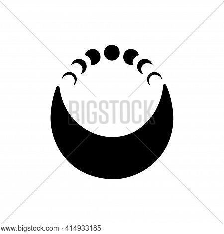 Moon Phases. Boho Vector Illustration. Contemporary Art With Crescent Moon. Celestial T Shirt Print,