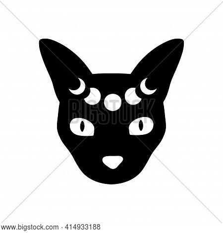 Mystical Moon Cat. Black Celestial Animal Vector Illustration. Esoteric Concept With Moon Phases. Bo