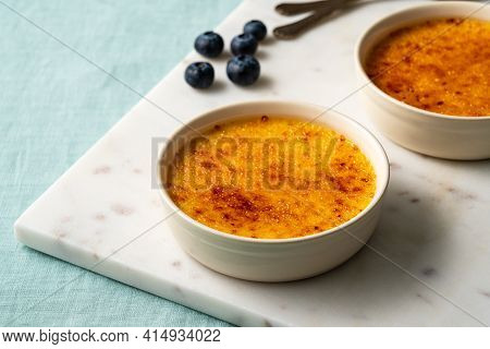 Spanish Crema Catalana. Creme Brulee. Traditional French Vanilla Cream Dessert. Burned Cream, Burnt