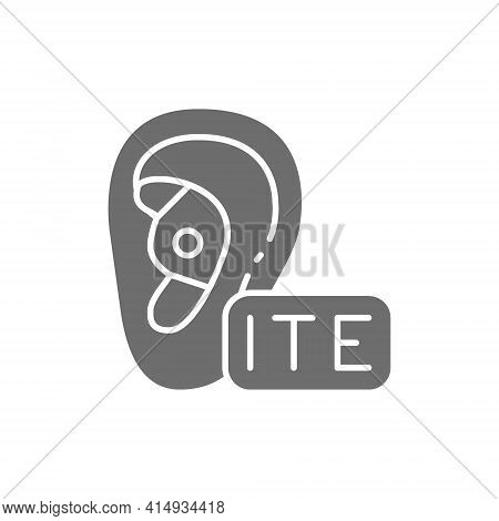 In The Ear Hearing Aid, Ite Gray Icon.