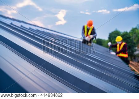Selective Focus Roof, Roof Concept Of Residential Building Under Construction, Roofer Worker Safety