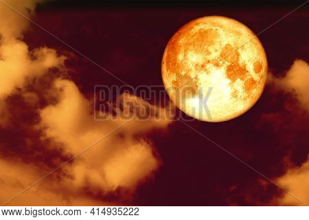 Full Corn Blood Moon And White Gray Silhouette Cloud Sky In The Night Sky