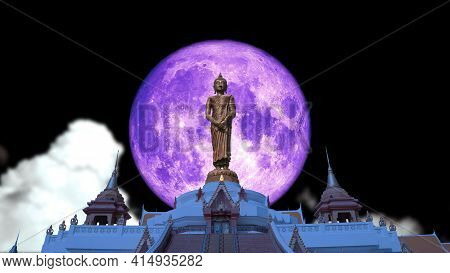 Super Full Pink Moon And Buddha Looking Seven Day Style On The Night Sky