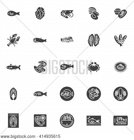 Seafood Menu Vector Icons Set, Modern Solid Symbol Collection, Filled Style Pictogram Pack. Signs, L