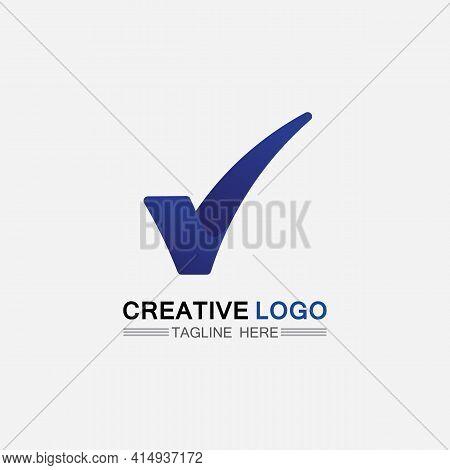Checklist Check Mark Logo Vector Or Icon. Tick Symbol In Green Color Illustration. Accept Okey Symbo
