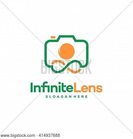 Infinity Lens Photography Logo Designs Concept Vector, Infinity And Camera Logo Symbol Icon