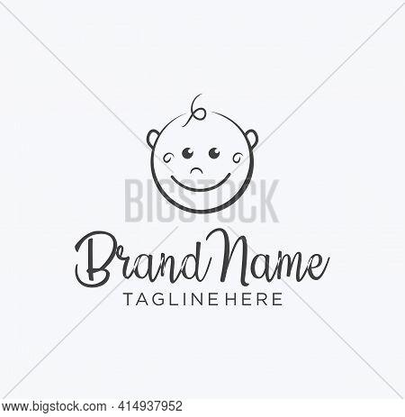 Cute Little Baby Logo Template. Simple Baby Logo Design Stock Illustration