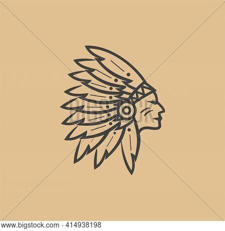 Native American Head Indian Chief Logo Icon Silhouette Vintage Design Stock