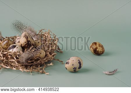 Easter Nest Made Of Hay With Quail Eggs And Feathers On A Blue Background, Close-up. Easter Composit