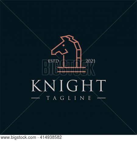 Chess Knight Horse Stallion Logo Silhouette Vintage Retro Design Vector Stock