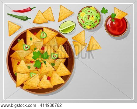 Bowl With Nachos, Salsa, Guacamole And Ranch Sauces Top View. Traditional Mexican Food Tortilla Chip