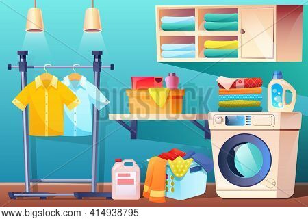 Laundry Room With Clean Or Dirty Clothes And Equipment And Furniture. Bathroom With Stuff Washing Ma