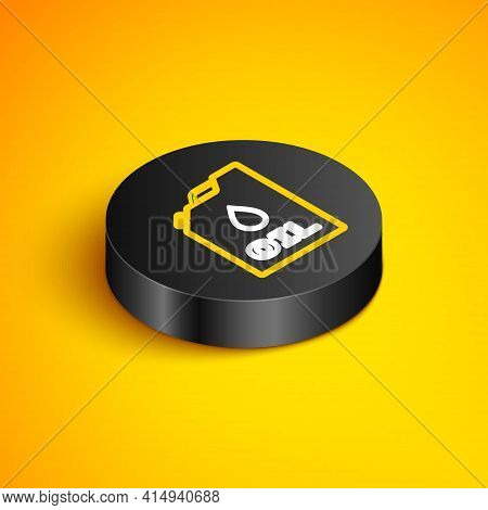 Isometric Line Plastic Canister For Motor Machine Oil Icon Isolated On Yellow Background. Oil Gallon