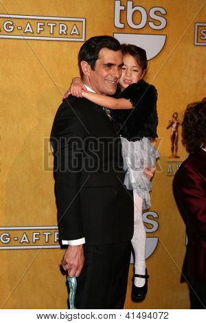 LOS ANGELES - JAN 27:  Ty Burrell, Aubrey Anderson-Emmons pose in the press room at the 2013 Screen Actor's Guild Awards at the Shrine Auditorium on January 27, 2013 in Los Angeles, CA