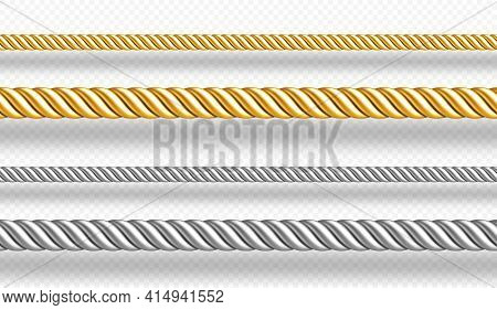 Gold And Silver Ropes, Twisted Twines Isolated On White Background. Vector Realistic Set Of 3d Golde