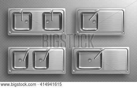 Stainless Kitchen Sinks With Faucets In Top View. Vector Realistic Set Of Empty Steel Wash Bowls Wit
