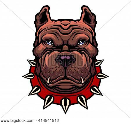American Pitbull Terrier Dog Head. Vector Illustration For Use As Print, Poster, Sticker, Logo, Tatt