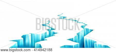 Broken Ice, Deep Crack In Frozen Surface. Breaks In Glacier In Perspective View. Vector Realistic Ba