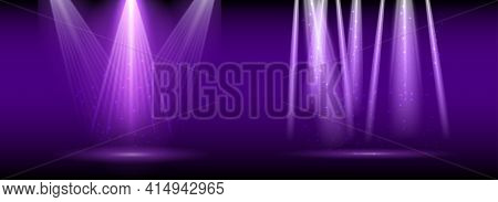 Purple Spotlight. Set Of Bright Lighting With Spotlights Of The Stage With Purple Ducst On Transpare