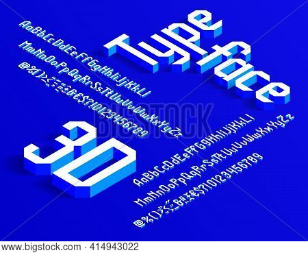 3d Alphabet Font. Isometric Letters, Numbers And Punctuation. Uppercase And Lowercase. Stock Vector