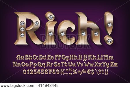 3d Rich Alphabet Font. Golden Metal Letters, Numbers And Symbols With Diamonds. Uppercase And Lowerc