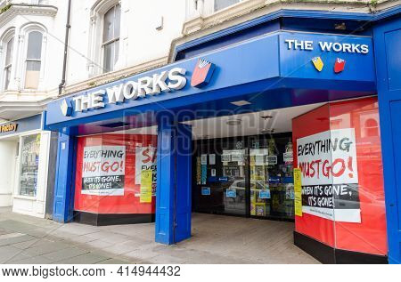 Llandudno, Uk: Mar 18, 2021: The Mostyn Street Branch Of The Works Is Advertising A Sale In Which Ev