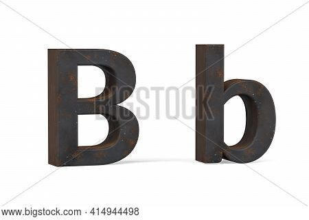 Rusty Letter B - Three Dimensional Uppercase And Lowercase B On White Background - 3d Render