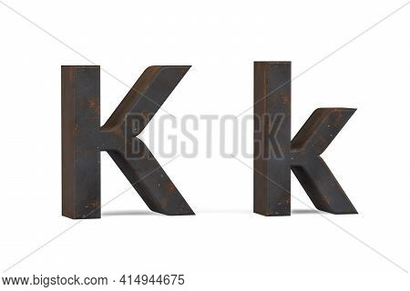 Rusty Letter K - Three Dimensional Uppercase And Lowercase K On White Background - 3d Render