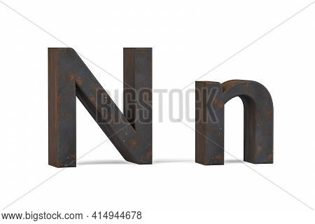 Rusty Letter N - Three Dimensional Uppercase And Lowercase N On White Background - 3d Render