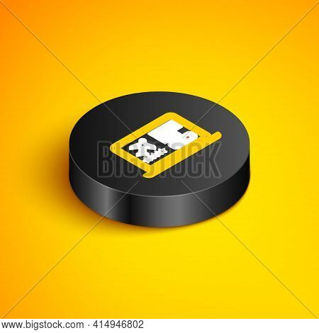 Isometric Line Laptop With Electronic Boarding Pass Airline Ticket Icon Isolated On Yellow Backgroun