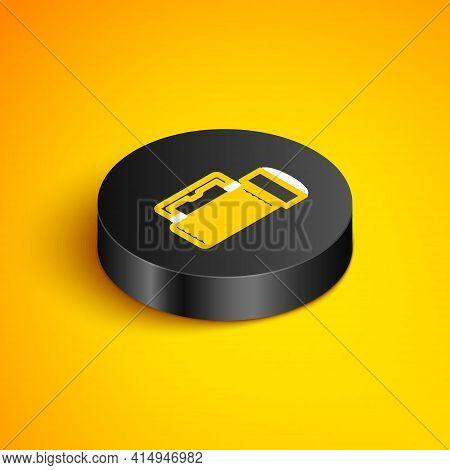 Isometric Line Flashlight Icon Isolated On Yellow Background. Tourist Flashlight Handle. Black Circl