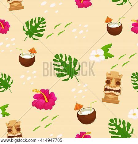 Bright Summer Hawaiian Seamless Pattern. Exotic, Holiday Elements, Vacation Objects. Editable Fabric