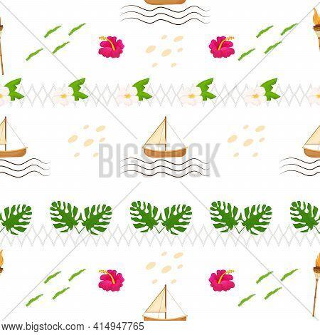 Bright Summer Hawaiian Seamless Pattern. Exotic, Holiday Elements, Vacantion Objects. Editable Fabri