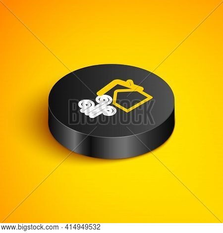 Isometric Line Tornado Swirl Damages House Roof Icon Isolated On Yellow Background. Cyclone, Whirlwi