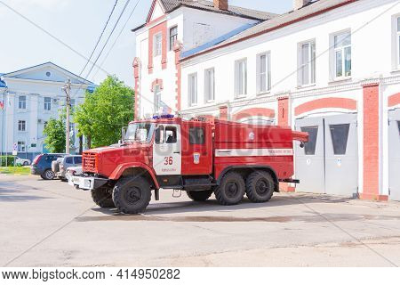 Russia - May 18, 2020. Tver Region, Russia. Special Equipment. Special Transport. A Fire Truck Stand