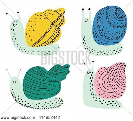 Set Of Snails On An Isolated White Background. An Invertebrate With A Shell. A Creeping Clam With Va