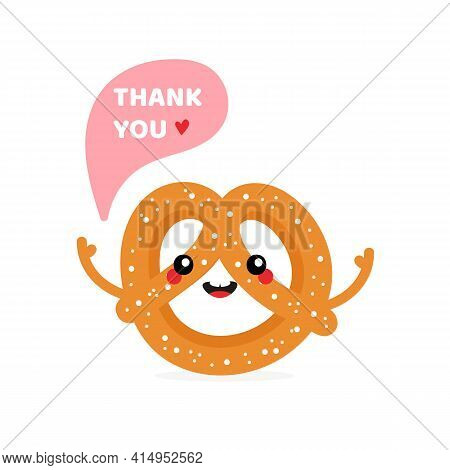 Cute Cartoon Style Smiling  Pretzel, Knot-shaped Baked Pastry Character Saying Thank You, Showing Ap