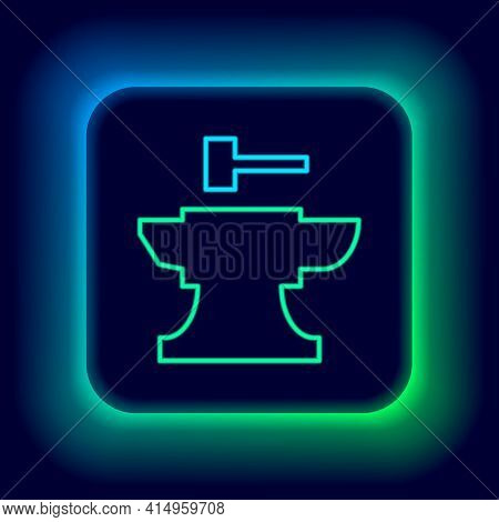 Glowing Neon Line Anvil For Blacksmithing And Hammer Icon Isolated On Black Background. Metal Forgin