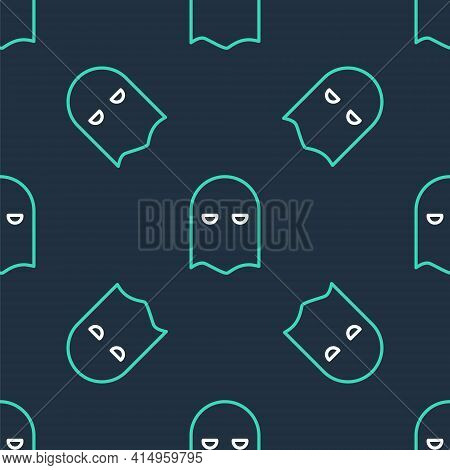 Line Executioner Mask Icon Isolated Seamless Pattern On Black Background. Hangman, Torturer, Executo