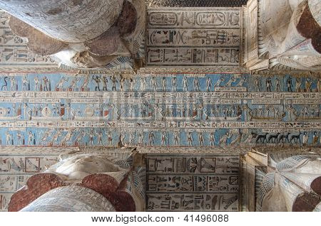 Hieroglyphs and carved paintings at Dendera Temple, Egypt