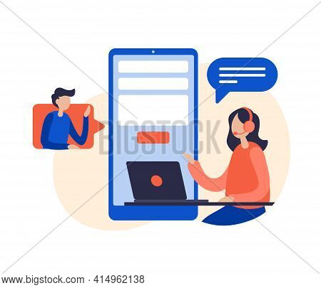 Contact Us Concept Flat Vector Illustration. Custumer Support Online. Female Support Operator With H