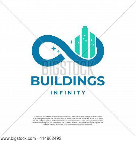 City Building Real Estate Logo Template, Infinity City Logo Designs Concept Vector